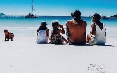 Family at Whitehaven Beach